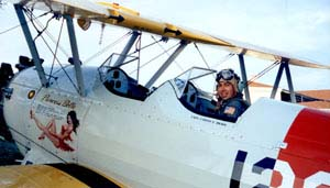 Carlos Bravo in the WWII Stearman biplane